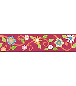 RoomMates Magenta and Orange Scroll Floral P&S Border Decal