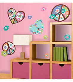 RoomMates Heart and Flower Peace Signs P&S Giant Wall Decals