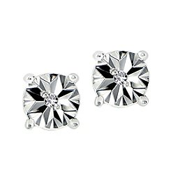 Designs by FMC Sterling Silver Miracle Set Diamond Accent Round Stud Earrings