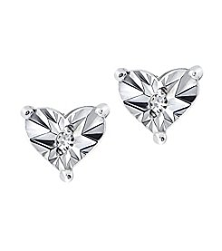 Designs by FMC Sterling Silver Miracle Set Diamond Accent Heart Stud Earrings