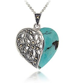 Designs by FMC Silver-Plated Marcasite Turquoise Heart Locket and Chain