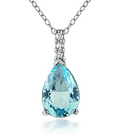 Designs by FMC Sterling Silver Cubic Zirconia Teardrop Pendant Necklace