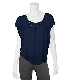 A. Byer Necklace Pleated Top