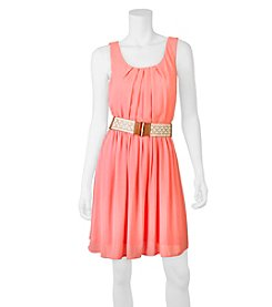 A. Byer Pleated Belted Dress