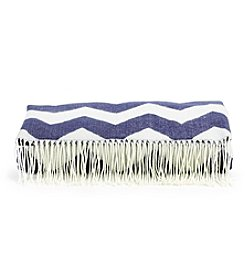 LivingQuarters Navy and White Woven Jacquard Throw