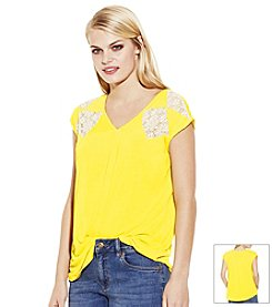 Vince Camuto® Floral Lace Yoke Tee