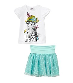 Beautees Girls' 4-6X Polka Dot Skirt Outfit Set