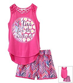 Belle du Jour Girls' 7-16 Live For The Weekend Tank Top Set