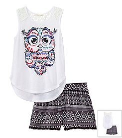 Belle du Jour Girls' 7-16 Owl Hi Low Tank Top Set