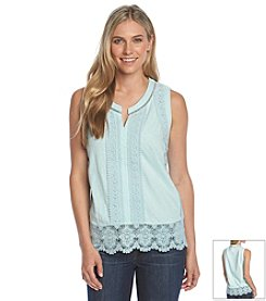 NY Collection Lace Trim Tank