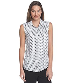 Jones New York Collection® Sleeveless Dot Blouse