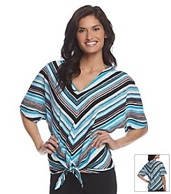 Jones New York Signature® Stripe Tie Front Blouse
