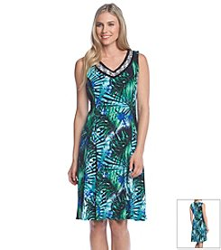 Notations® Embellished Palm Print Dress