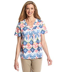 Alfred Dunner Paradise Island Butterfly Burnout Knit Top