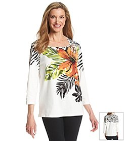 Alfred Dunner® Animal Magnetism Tropical Floral Knit Top