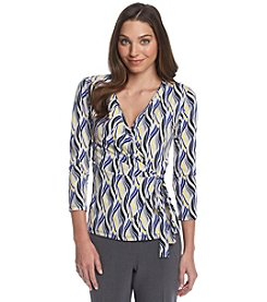 Anne Klein® Wave Print Wrap Top