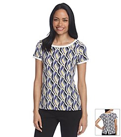 Anne Klein® Wave Print Button Back Tee