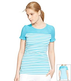 Lauren Active® Striped Mesh-Yoke Top
