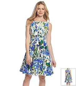 Gabby Skye® Floral Scuba Fit And Flare