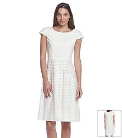 Anne Klein® Sheer Stripe Fit And Flare Dress