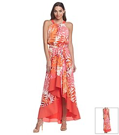 Vince Camuto® Palm Printed High-Low Maxi Dress