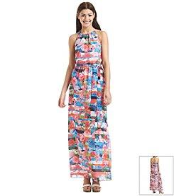 Jessica Simpson Floral Chiffon Halter Maxi Dress