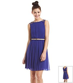 Jessica Simpson Pleated Belted Dress