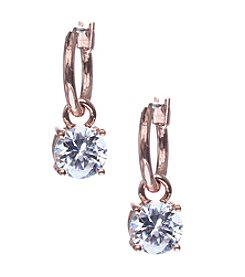 Anne Klein® Rose Goldtone Cubic Zirconia Hoop Earrings