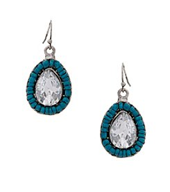 Erica Lyons® Silvertone Devil In A Blue Dress Beaded Teardrop Pierced Earrings