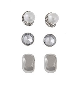 Erica Lyons® Silvertone Trio Ears Pearl Button Pierced Earrings