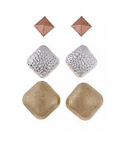 Erica Lyons® Trio Ears Tri Tone Metal  Button Pierced Earrings
