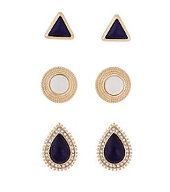 Erica Lyons® Goldtone Trio Ears Navy And White  Button Pierced Earrings