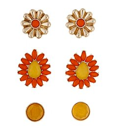 Erica Lyons® Trio Ears Orange And Goldtone Button Pierced Earrings