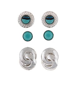 Erica Lyons® Trio Ears Turquoise And Silvertone Button Pierced Earrings
