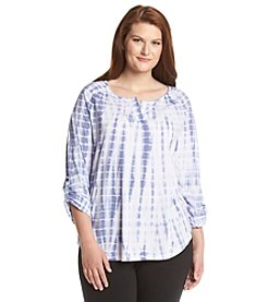 Marc New York Performance Plus Size Roll Tab Tie Dye Knit