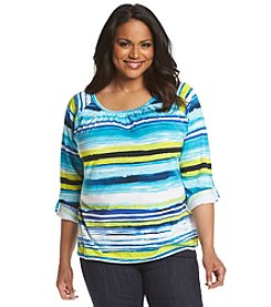 Jones New York Sport® Plus Size Stripe Peasant Top