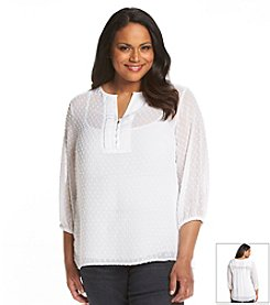 Jones New York Signature® Plus Size Texture Dot Peasant Top