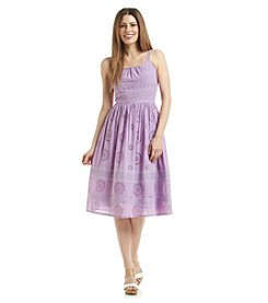 Adrianna Papell® Eyelet Fit And Flare Dress