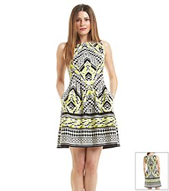 Vince Camuto® Geo Print Scuba Fit And Flare Dress