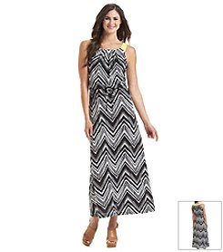 Notations® Chevron Print Drawstring Maxi Dress