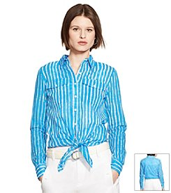 Lauren Ralph Lauren® Striped Tied-Hem Voile Shirt