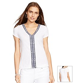 Lauren Ralph Lauren® V-Neck Embroidered Top