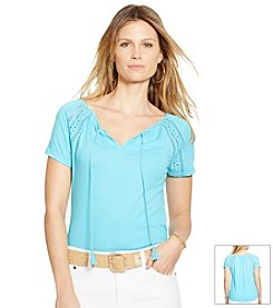 Lauren Ralph Lauren® Crochet-Paneled Cotton Top