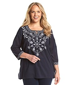 Studio Works® Plus Size Embroidered Medallion Peasant Top
