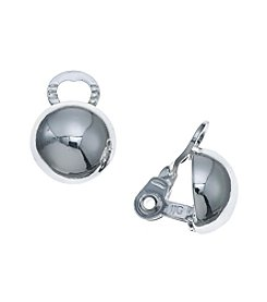 Napier® Silvertone Button Clip Earrings