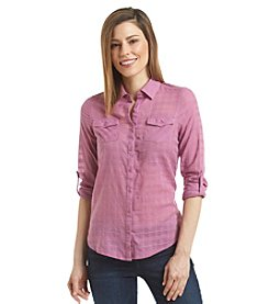 Relativity® Lace Back Dobby Utility Shirt