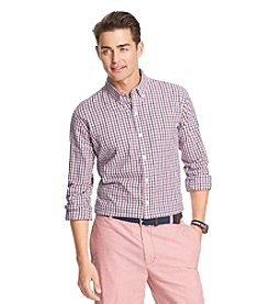 Izod® Men's Long Sleeve Small Plaid Woven