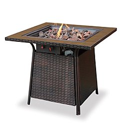 UniFlame® LP Gas Outdoor Firebowl with Slate and Faux Wood Mantel