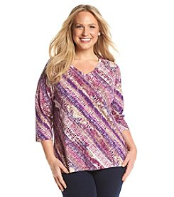 Studio Works® Plus Size Print Three-Quarters Sleeve Tee