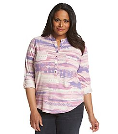 Relativity® Plus Size 3/4 Sleeve Print Henley